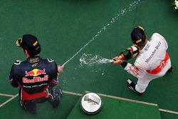 Podium: race winner Lewis Hamilton, McLaren Mercedes, third place Mark Webber, Red Bull Racing