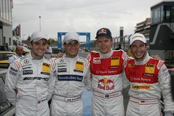 Pole winner Mattias Ekström, Audi Sport Team Abt, with second place Jamie Green, Team HWA AMG Mercedes, third place Mike Rockenfeller, Audi Sport Team Abt and fourth place Bruno Spengler, Team HWA AMG Mercedes