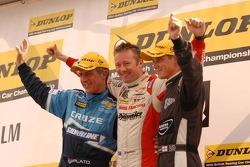 Round 17 podium; 1st Gordon Shedden, 2nd James Nash, 3rd Jason Plato