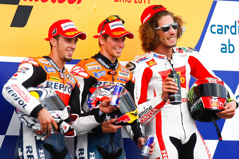 2011: 1. Casey Stoner, 2. Andrea Dovizioso, 3. Marco Simoncelli
