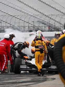 Alex Tagliani, Sam Schmidt Motorsports on fire on pitlane
