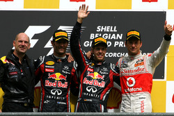 Podium: race winner Sebastian Vettel, Red Bull Racing, with Adrian Newey, Red Bull Racing, Technical Operations Director, second place Mark Webber, Red Bull Racing, and third place Jenson Button, McLaren Mercedes