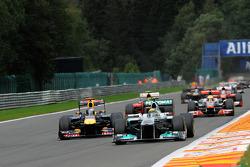 Nico Rosberg, Mercedes GP passes Sebastian Vettel, Red Bull Racing