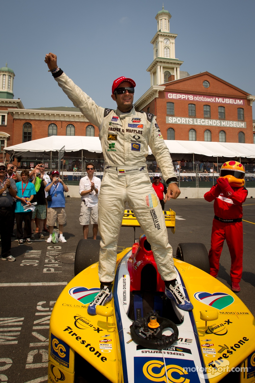 Race winner Gustavo Yacaman, Team Moore Racing celebrates