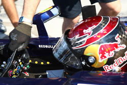 Sebastian Vettel, Red Bull Racing with smiliey faces in his cockpit for every win this season