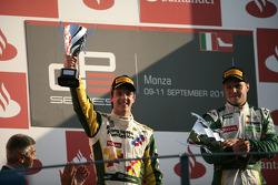 James Calado celebrates on the podium with Valtteri Bottas