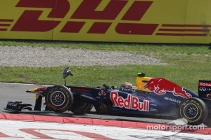 Webber lost his front wing at Monza