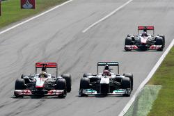 Michael Schumacher, Mercedes GP F1 Team, Lewis Hamilton, McLaren Mercedes, Jenson Button, McLaren Mercedes