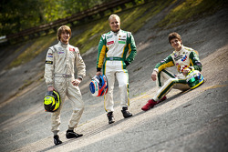 Valtteri Bottas, James Calado and Nigel Melker, first second and third in the 2011 GP3 Series championship