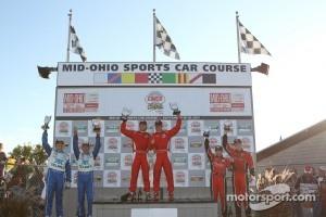 DP podium: class and overall winners Ryan Dalziel and Enzo Potolicchio, second place Scott Pruett and Memo Rojas, third place Jon Fogarty and Alex Gurney