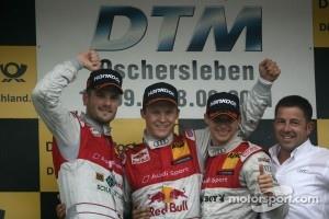 2nd Martin Tomczyk, Audi Sport Team Phoenix Audi A4 DTM, 1st Mattias Ekström, Audi Sport Team Abt Audi A4 DTM, 3rd Edoardo Mortara, Audi Sport Team Rosberg, Audi A4 DTM