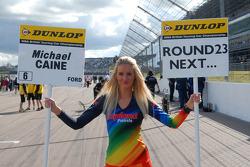 Airwaves Racing grid girl to Michael Caine