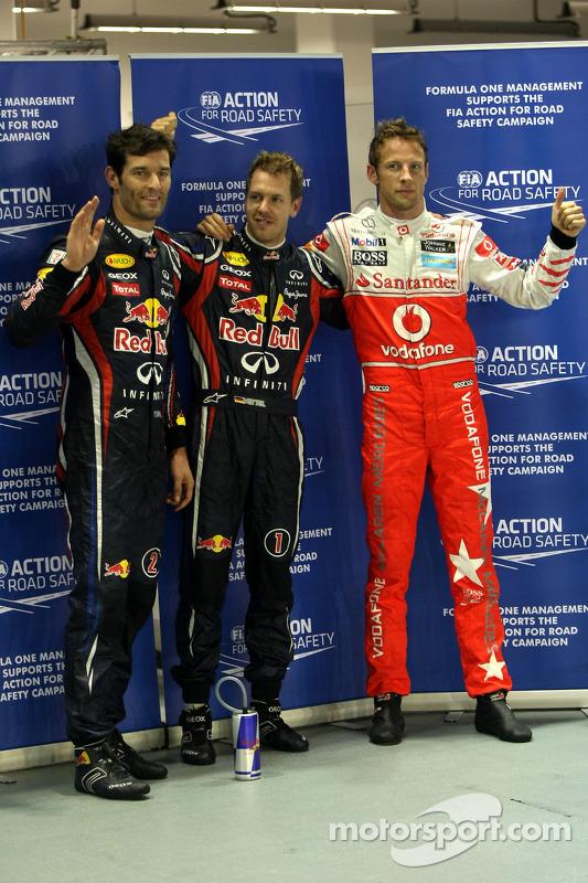 Pole winner Sebastian Vettel, Red Bull Racing, second place Mark Webber, Red Bull Racing, third plac