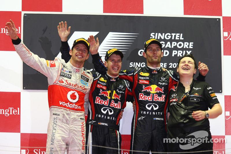 2011 : 1. Sebastian Vettel, 2. Jenson Button, 3. Mark Webber