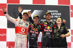 Podium: race winner Sebastian Vettel, Red Bull Racing, second place Jenson Button, McLaren Mercedes, third place Mark Webber, Red Bull Racing