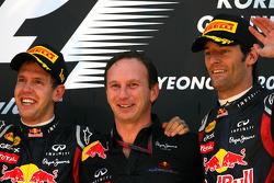 Podium: race winner Sebastian Vettel, Red Bull Racing, Christian Horner, Red Bull Racing, Sporting Director and third place Mark Webber, Red Bull Racing