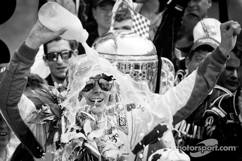 2011 Indy 500 race winner Dan Wheldon, Bryan Herta Autosport with Curb / Agajanian celebrates