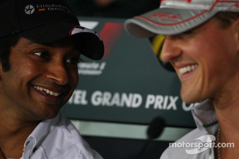 Narain Karthikeyan, Hispania Racing F1 Team, HRT, Michael Schumacher, Mercedes GP Petronas F1 Team