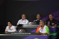 Jean-Francois Caubet, Managing director of Renault F1 with Alan Parr, Williams F1, Franz Tost, Scuderia Toro Rosso, Team Principal, Monisha Kaltenborn, Managing director, Sauber F1 Team and Vijay Mallya, Force India F1 Team Owner