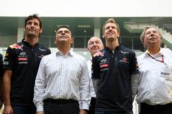Mark Webber, Red Bull Racing, Carlos Ghosn, CEO Renault-Nissan, Sebastian Vettel, Red Bull Racing,  Jean-Francois Caubet, Managing director of Renault F1