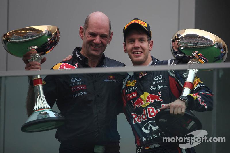 Podium: Adrian Newey, Red Bull Racing, Technical Operations Director with Sebastian Vettel, Red Bull