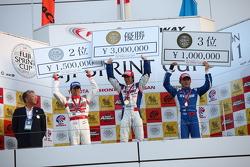 GT500 race 2 podium: winner Takuya Izawa, second place Masataka Yanagida, third place Toshihiro Kaneishi