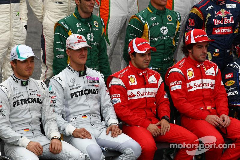 Nico Rosberg, Mercedes GP Petronas F1 Team with Michael Schumacher, Mercedes GP Petronas F1 Team, Felipe Massa, Scuderia Ferrari and Fernando Alonso, Scuderia Ferrari