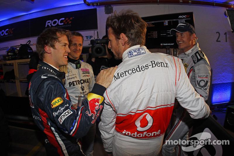 Sebastian Vettel, Michael Schumacher, Jenson Button and David Coulthard