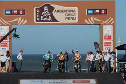 #1 KTM: Marc Coma, #2 KTM: Cyril Despres, #3 Yamaha: Helder Rodrigues