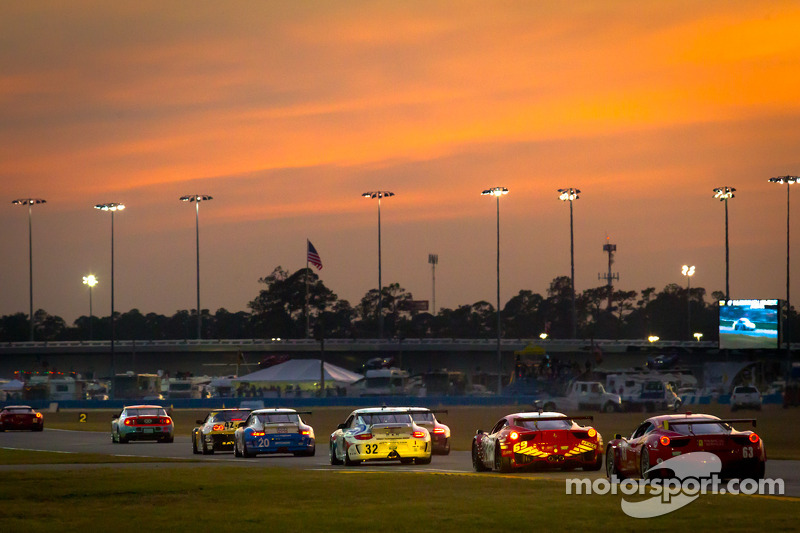 Race action at sunset