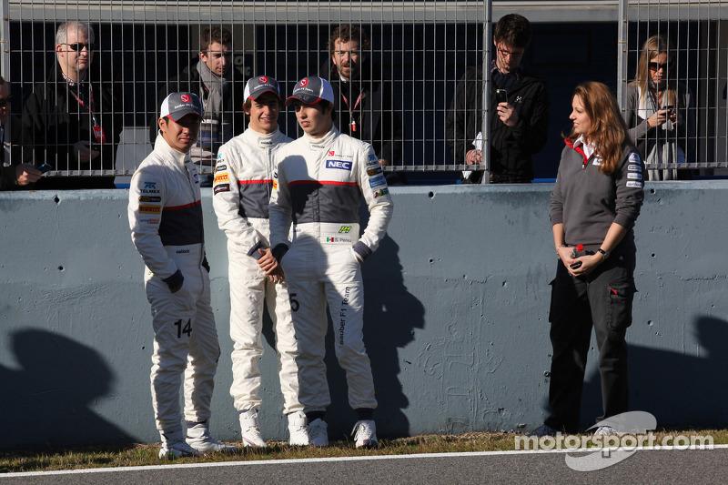 Kamui Kobayashi, Sauber F1 Team with Esteban Gutierrez, Sauber F1 Team and Sergio Perez, Sauber F1 Team