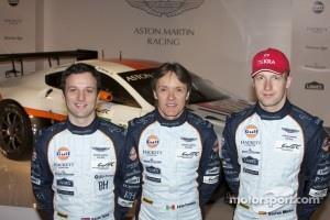 Drivers Darren Turner, Adrian Fernandez and Stefan Mücke with the Aston Martin Racing Vantage GTE