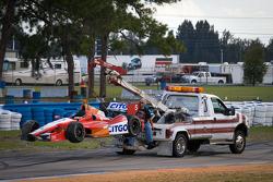 Damaged car of EJ Viso, KV Racing Technology Chevrolet