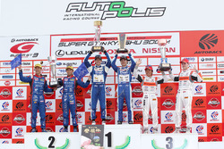 GT300 podium: winners #25 Team Tsuchiya Toyota MC86: Takamitsu Matsui, Tsubasa Kondo, second place #61 R&D Sport Subaru BRZ: Takuto Iguchi, Hideki Yamauchi, third place #55 Autobacs Racing Team Aguri BMW M6 GT3: Shinichi Takagi, Sean Walkinshaw