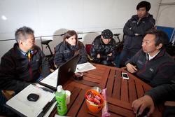 Morning meeting at Hitotsuyama Racing: Cyndie Allemann, Michael Kim, Hideki Noda