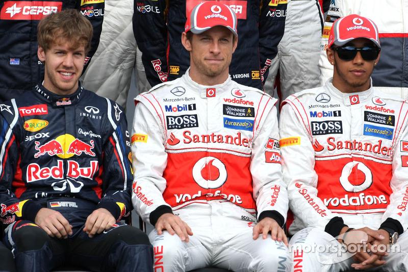 Sebastian Vettel, Red Bull Racing, Jenson Button, McLaren Mercedes and Lewis Hamilton, McLaren Merce