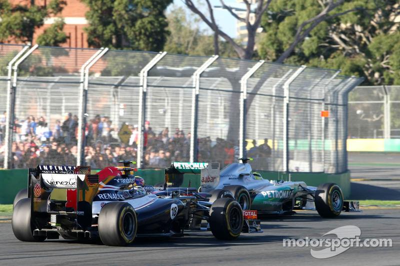 Pastor Maldonado, Williams F1 Team, Mark Webber, Red Bull Racing and Nico Rosberg, Mercedes GP