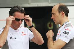 Sam Michael, Mclaren Mercedes Sporting Director with Phil Prew, Mclaren Mercedes Race Engineer