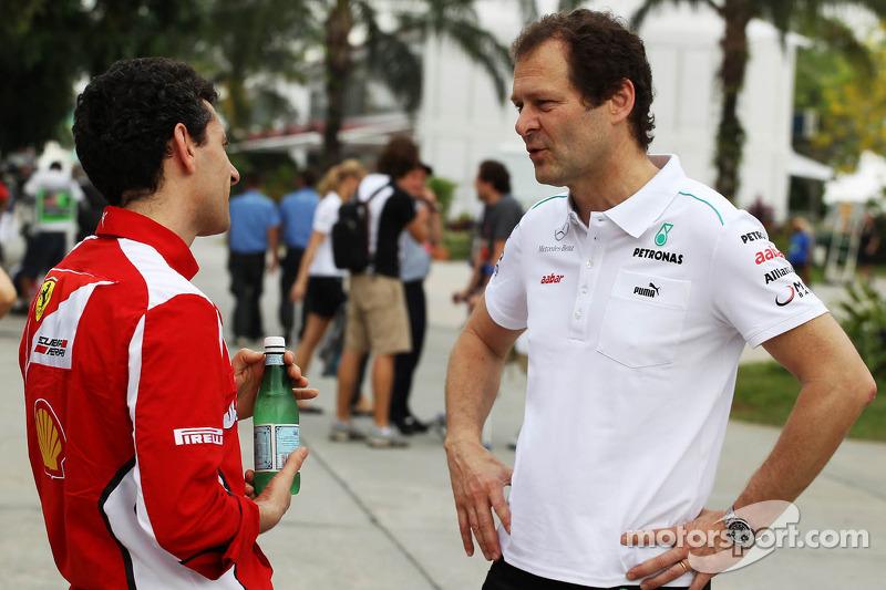 Andrea Stella, Ferrari Race Engineer with Aldo Costa, Mercedes GP Engineering Director