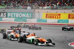 Paul di Resta, Sahara Force India leads team mate Nico Hulkenberg, Sahara Force India F1