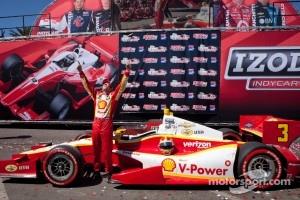 Victory lane: race winner Helio Castroneves, Team Penske Chevrolet celebrates