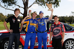 Taz Douglas, Will Davison, Mark Winterbottom and Michael Caruso in a golf challenge at Launceston Golf Club
