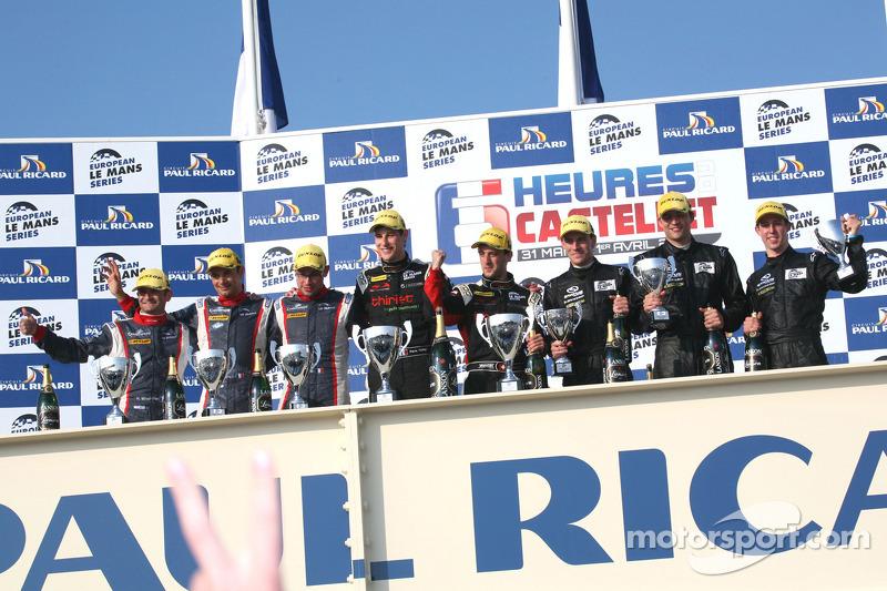 P2 podium: race winners Mathias Beche and Pierre Thiriet, second place Stéphane Sarrazin, Nicolas Minassian and Nicolas Marroc, third place Yelmer Buurman, Alexander Sims and Dean Stirling