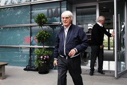 Bernie Ecclestone, CEO Formula One Group, leaves a meeting of the teams concerning the upcoming Bahrain GP