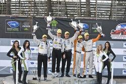 ALMS P2 podium: winners Scott Tucker, Christophe Bouchut, second place Martin Plowman, David Heinemeier Hansson, third place Luiz Diaz
