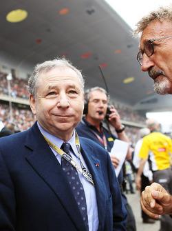 Jean Todt, FIA President with Eddie Jordan, BBC Television Pundit