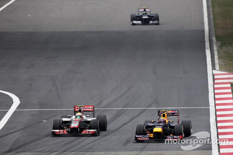 Lewis Hamilton, McLaren en Mark Webber, Red Bull Racing duel