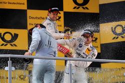 Podium 2nd Gary Paffett, Team HWA AMG Mercedes, AMG Mercedes C-Coupe, 2nd Augusto Farfus Jr., BMW Team RBM BMW M3 DTM, 1st Bruno Spengler, BMW Team Schnitzer BMW M3 DTM,