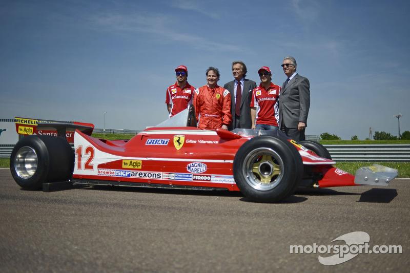 Fernando Alonso, Jacques Villeneuve, Luca di Montezemolo, Felipe Massa en Piero Ferrari met de 312 T4