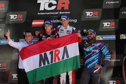 Podium: Race winner Roberto Colciago, M1RA, Honda Civic TCR, second place Attila Tassi, M1RA, Honda Civic TCR, third place Stefano Comini, Comtoyou Racing, Audi RS3 LMS and Norbert Michelisz